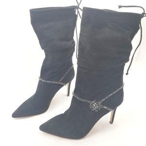 Badgley Mischka Embellished Mid Calf Slouchy Boots